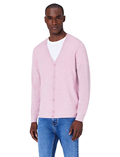 MERAKI Merino Strickjacke Herren  mit V-Ausschnitt, Rosa (Medium Pink Marl), XXX-Large