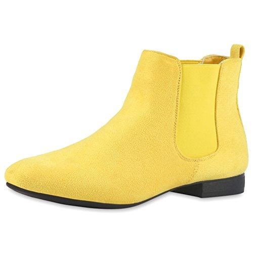 Damen Stiefeletten Flache Chelsea Boots Lederoptik Schuhe Gr. 36-41 Gelb  Velour