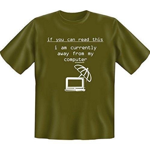 Originelles Funshirt! T-Shirt Set für Computerfreaks - If you can read this... Plus einem gratis Gentleman Minishirt! Khaki