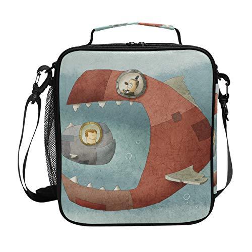Ocean Sealife Lunchtasche mit lustigem Fisch, isoliert, Kühltasche, Schultergurt, Mahlzeit Vorbereiten für Damen, Herren, Kinder, Jungen, Mädchen, große Tragetasche für Picknick, Schule -