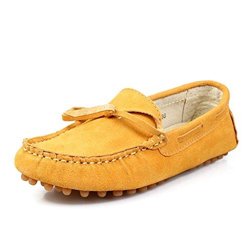 Minitoo Women's Fashion Knoten Wildleder Mokassins Slipper Boat Arbeit Freizeit Schuhe Gelb