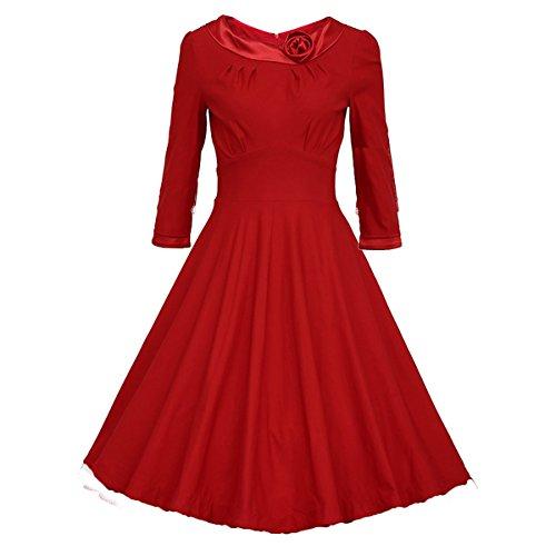 Dissa M1143 femme Rockabilly Robe de Soiré cocktail Robe de Bal Retro Rouge