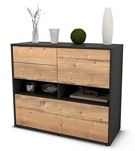 Stil.Zeit Sideboard Cornelia/Korpus anthrazit matt/Front Holz-Design Pinie (92x79x35cm) Push-to-Open Technik & Leichtlaufschienen