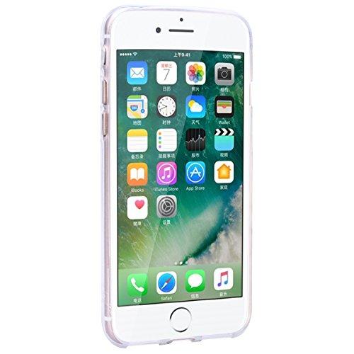 HB-Int Handytasche für iPhone 7 / iPhone 8 Hülle Silikon Transparent Case Bling Glitter Schutzhülle Durchsichtig Herz Pailletten Rubber Gel TPU Bumper Cover - Gold Rot