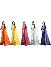 Florence Cotton with Blouse Piece Saree (Pack of 5) (FL-RSTCOM-5_24_Multicolor_One Size)