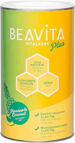 BEAVITA Vitalkost Plus - Kokos-Ananas Pulver 572g - Diät-Shake für unbeschwertes Abnehmen - reicht für 10 Shakes/Mahlzeiten - Kalorien sparen & Gewicht reduzieren mit dem 14 Tage-Diätplan inkl.