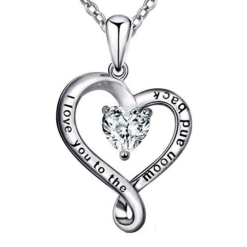 925 Sterling Silber Charme Halskette mit niedlicher Herz-Anhänger Infinity  Love weiß CZ Weiß Gold ea15e97e76