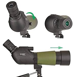 Gosky 20-60x60 Waterproof Spotting Scope -BAK4 Angled Spotting scope Bird Watching Target Shooting Archery Scenery Tripod Digiscoping Adapter - Get the World into Screen