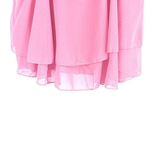 Siswong Femmes Irrégulière Été Sangle en Mousseline de Soie Chemisier en Mousseline t-Shirt Debardeur Femme Camisole Gilet Rose