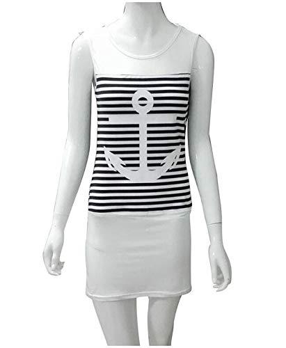 CEGFXCSW Kleid Sommer Plus Size Frauen Kleid Lässig Ärmellos Weiß Blau Anker Print Gestreiften Kleid Strand Minikleid, Weiß, L Anker Kleid