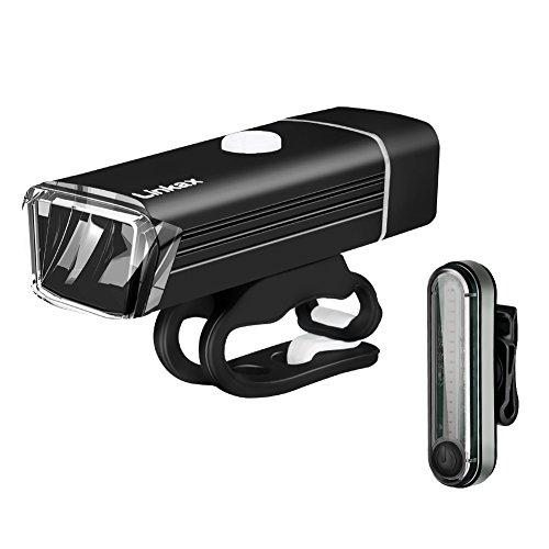 Linkax Luci per Bicicletta, Luci Bicicletta LED USB Ricaricabili, Luce Bici Anteriore e Posteriore Luci Bici LED 4 modalità di Illuminazione Per Esterni Ciclismo e Ciclismo Sicurezza