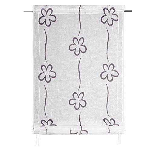 Albani Bändchenrollo, 100% Polyester, 120 x 80 cm (H x B), fertig konfektioniert, 1 Stück, Willkommen Zuhause Ayleen 2, Weiß-Lila, 271715 (Baumwolle Schwarz Zugschnur)