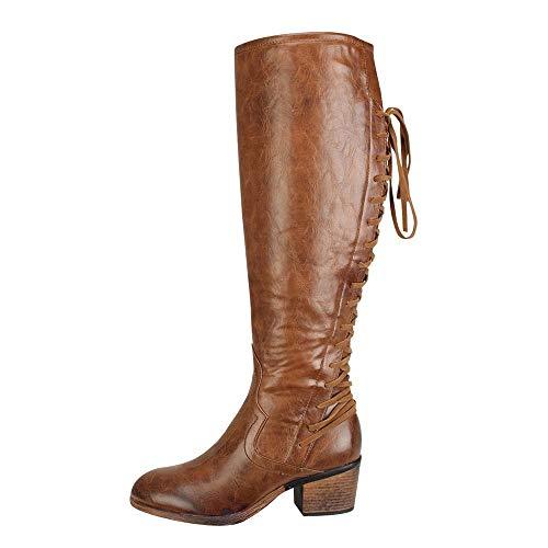 BaZhaHei Damen Schuhe Damenmode Leder Schnürschuhe High Heels Stiefel Winter Sexy Knie Stiefel Autumn Winter Boots Süße Stiefel Stilvolle Flache Flock Schuhe -