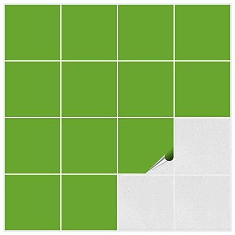 Autocollant en tuile FoLIESEN pour salle de bain et cuisine - 15x15 cm - vert herbe brillant - 20 autocollants pour les carreaux de murs