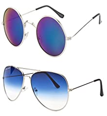 fe271363367 Younky Combo Pack of Unisex Mirrored Sunglasses (RoundBlue-SilverBlue) - 2  Boxes Image