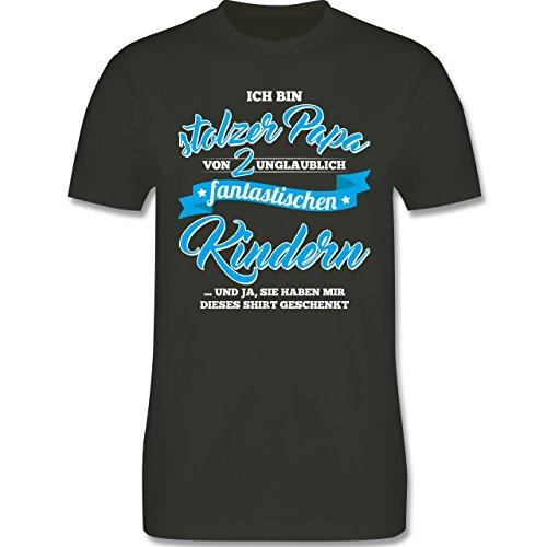 Shirtracer Vatertag - Stolzer Papa 2 Fantastische Kinder - Herren T-Shirt Rundhals Army Grün