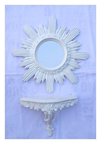 SET Weiß Sonne Rund Wandspiegel + Konsole M Wandkonsole Barock Antik 42x42 Flur Eingangsmöbel Möbel Konsole Ablage Spiegel Wandregal