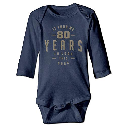 MSGDF Unisex Toddler Bodysuits Funny 80th Birthday Girls Babysuit Long Sleeve Jumpsuit Sunsuit Outfit Navy (White Tiger Baby Kostüm)