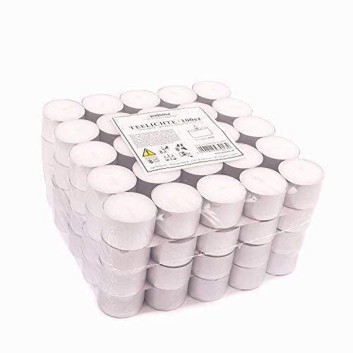 Pajoma - Candele tealight, Senza Profumo, 100 Pezzi, Durata: 8 Ore