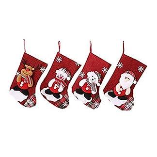 WeyTy – Juego de 4 Calcetines navideños para decoración del hogar, Bolsa de Regalo con diseño de Caramelos, Adorno para árbol de Navidad, Regalo para niños