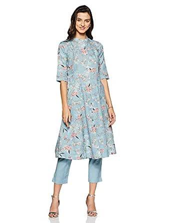 BIBA Women's cotton achkan Salwar Suit Set (SKD6153_ Blue_ S (32))