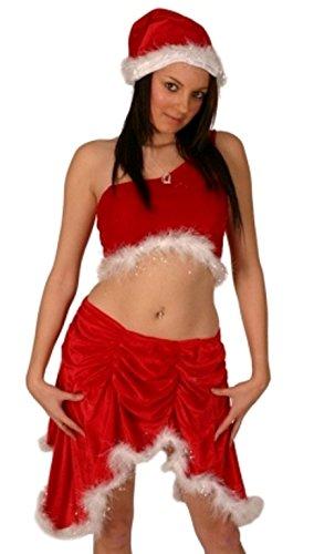 Christmas Fancy Dress Kostüm Miss Santa samt 3 (Samt Miss Santa Kostüme)