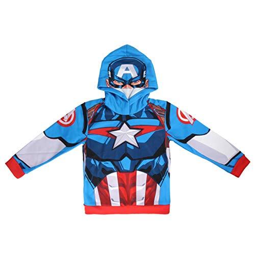 Supereroi Marvel Avengers - Felpa Premium Con Cappuccio - Bambino - Full Print Fronte e Retro - 22-30XX [Blu Captain America - 7/8 anni - 122/128 cm]