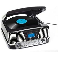 Lauson CL139 - Tocadiscos para equipo de audio(AM/FM radio, entrada USB, función para grabación), Negro