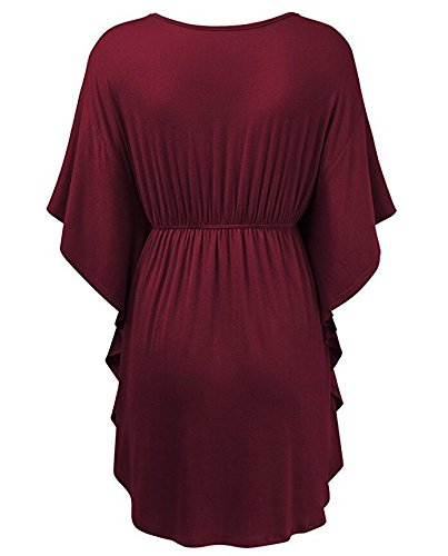 Damen Blouse Kurzarm V Ausschnitt Bow Elegant Sommer T Shirt Oberteil Hemdblusen Rot