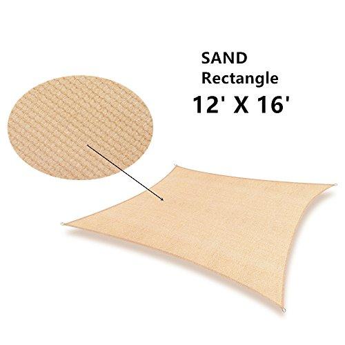 Soclear - 16 Ft. X 12 Ft. (5m x 3.5m) Sable - Voile d'ombrage Rectangulaire - Perméable à l'eau - Durable - Protection Solaire et Anti UV