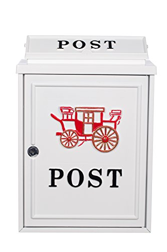 Antiker großer und sehr edler Briefkasten PT 26 Weiß Wandbriefkasten, Briefkasten, Nostalgischer Englischer Briefkasten Metall 41 cm hoch, dicker Briefschlitz (24 x 4 cm) . Mit Befestigungsmaterial für die Wand. mit 2 Schlüsseln , Rostfrei