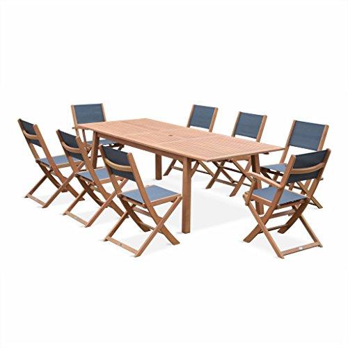 Alice's Garden - Salon de Jardin en Bois Extensible - Almeria - Table 180/240cm avec rallonge, 2 fauteuils et 6 chaises, en Bois d'Eucalyptus FSC huilé et textilène Gris Anthracite