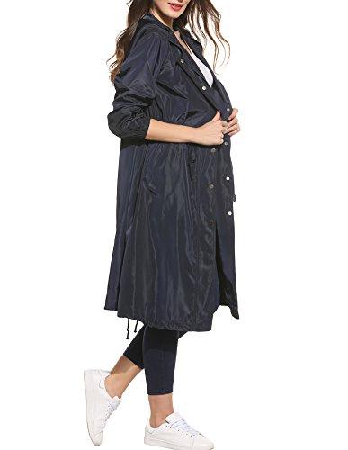 Zeagoo Damen lange Jacke Trenchcoat oversize Casual Frühling Herbst Parka Mantel mit Kapuze Dunkelblau