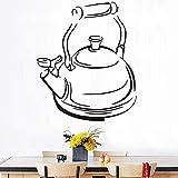 Aufkleber Tee Zeit Teekanne Vinyl Fliesen Wandaufkleber Tapete Küche Wandtattoos Wohnkultur Dekoration Wandbild Wandkunst 37x40cm