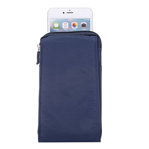 DFV mobile - Multi-functional Universal Vertical Stripes Pouch Bag Case Zipper Closing Carabiner for =>                     APPLE IPHONE 3GS > Brown XXM (18 x 10 cm) Blue XXM (18 x 10 cm)