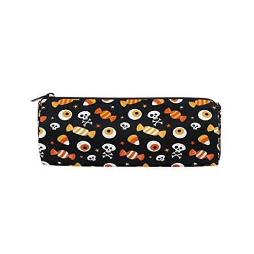 Bonipe Federmäppchen mit Halloween-Motiv und Totenkopf-Motiv, für Schule, Schreibwaren, Stifte, Box, Reißverschluss