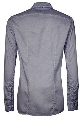 SIGNUM Hemd Herren Langarm Slim Fit I Bügelleicht durch Lycocell-Anteil I mehrere Farben I Größen S - 4XL (Übergröße) Eventide Blue