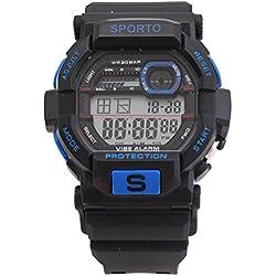Men's/Boys Designer Sporto Black And Turquoise Sports Digital Watch Plastic Strap Watch Retro Style