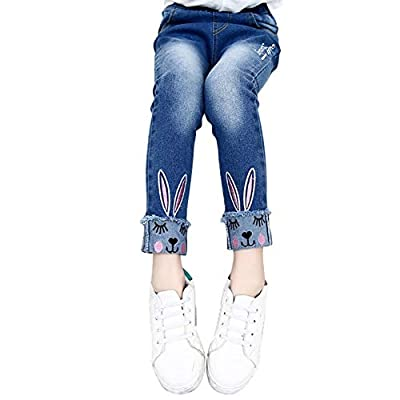 Urmagic Girls Jeans Children Kids Lovely Rabbit Pattern Design Blue Denim Pants for 3-13 Year Old : everything £5 (or less!)