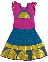 4b250e45ce Pattu Pavadai Soft Silk Pavada Peacock Blue and Pink for Baby Girls & Kids
