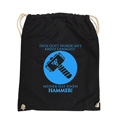 Comedy Bags - DEIN GOTT KREUZ - MEINER HAMMER - Turnbeutel - 37x46cm - Farbe: Schwarz / Pink Schwarz / Blau