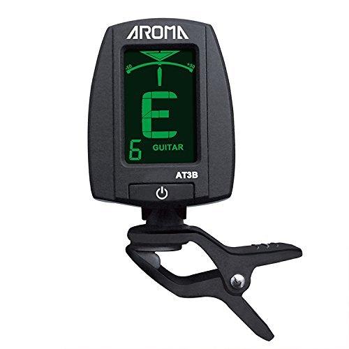 Aroma Clip Chromatic Tuner para guitarra Bass AT3B Super rápido y preciso pantalla de 2 colores Verde en sintonía Blanco fuera de sintonía 360 grados rotativo Apagado automático en 3m sin señal
