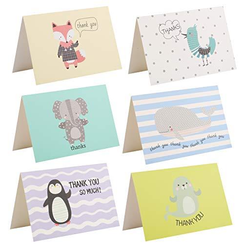 Kesote Dankeskarten Tier Set, 24 Stück Dankes Karten mit 24 Stück Umschläge für Hochzeit Geburtstag Erntedankfest Staffelungen Jubiläum