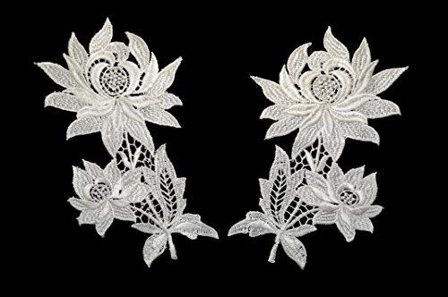 Altotux 7x4 Off-white Floral Guipure Venice Lace Collar Neckline Applique By Pair by Altotux White Lace Floral Applique