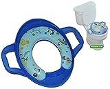Unbekannt Toilettensitz / Toilettenaufsatz SOFT mit Griff und Führungsring - Looney Tunes blau - WC Toilettentrainer für Jungen Standardgröße weich gepolstert - Klositz Baby - Tweety Bugs Bunny Taz