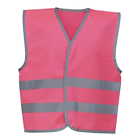 YOKO Hi-vis Reflective Border Kids Waistcoat (HVW102CH) Reflective Border 100% Polyester Fabric with Velcro Fastening (Large, Fluo