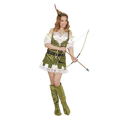 Paar Kostüm Dieb - Widmann 01442 - Erwachsenenkostüm Robin aus dem Wald, Kleid, Gürtel mit Tasche, Schuhüberzieher und Hut, grün
