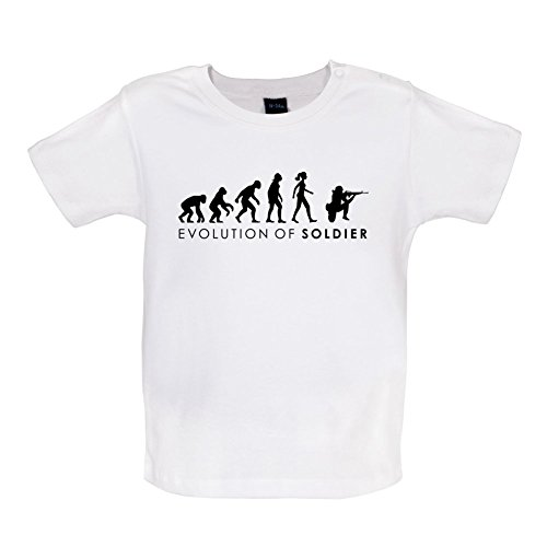 Evolution of Woman - Soldatin - Baby T-Shirt - Weiß - 3 bis 6 Monate (Militär-kleinkind-t-shirt)