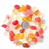 Perline di vetro di mare/spiaggia perline di vetro per fare gioielli (taglia M/10–14mm, multicolore rosso giallo arancione dorato rosa mix, non forato) 20 pezzi