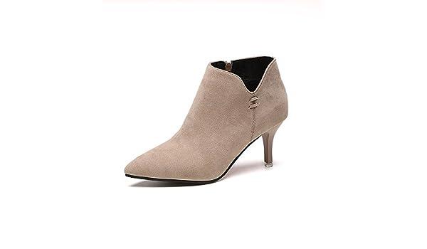 QIN&X Women's Bride basse Chaussures Bottillons courts ,l'argent,34
